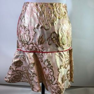 Sandro Paris Pink Brocade Flounce Skirt 1 New